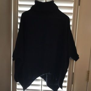 Black poncho with sleeves